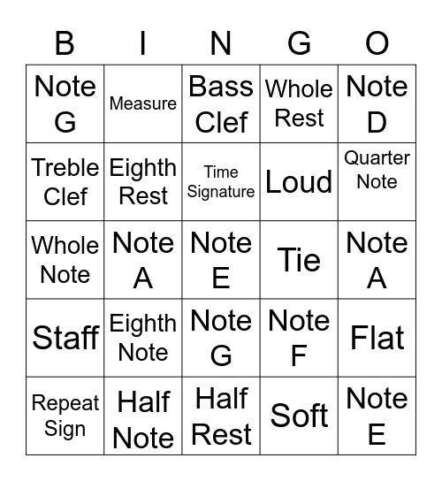 Music Terms Bingo Card