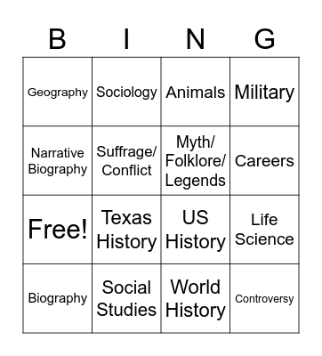 Secondary Nonfiction Bingo Card