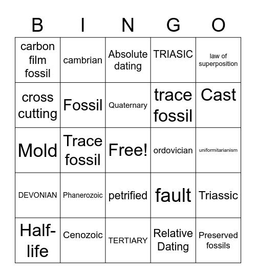 Geologic Time Scale Bingo Card