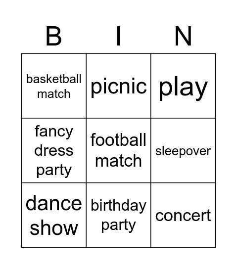 Events English Class A1+ Bingo Card