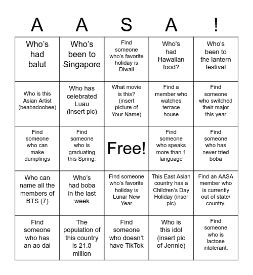 AASA Bingo Card