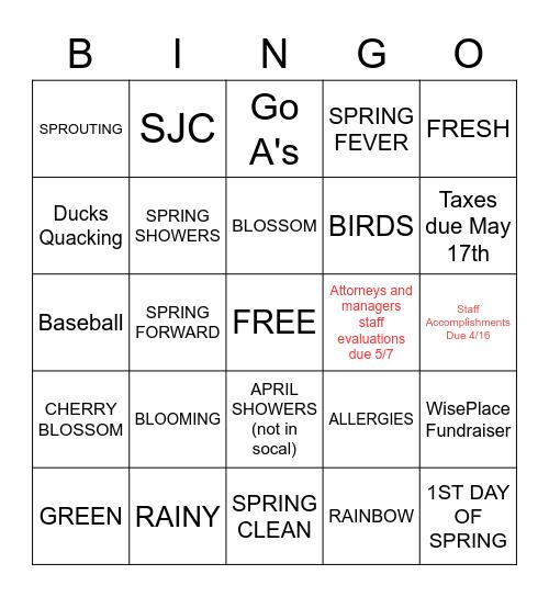 SPRING-O Bing-O Don't Flake on Spring Break Bingo Card