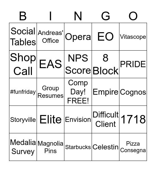 Fun Friday Bingo Card
