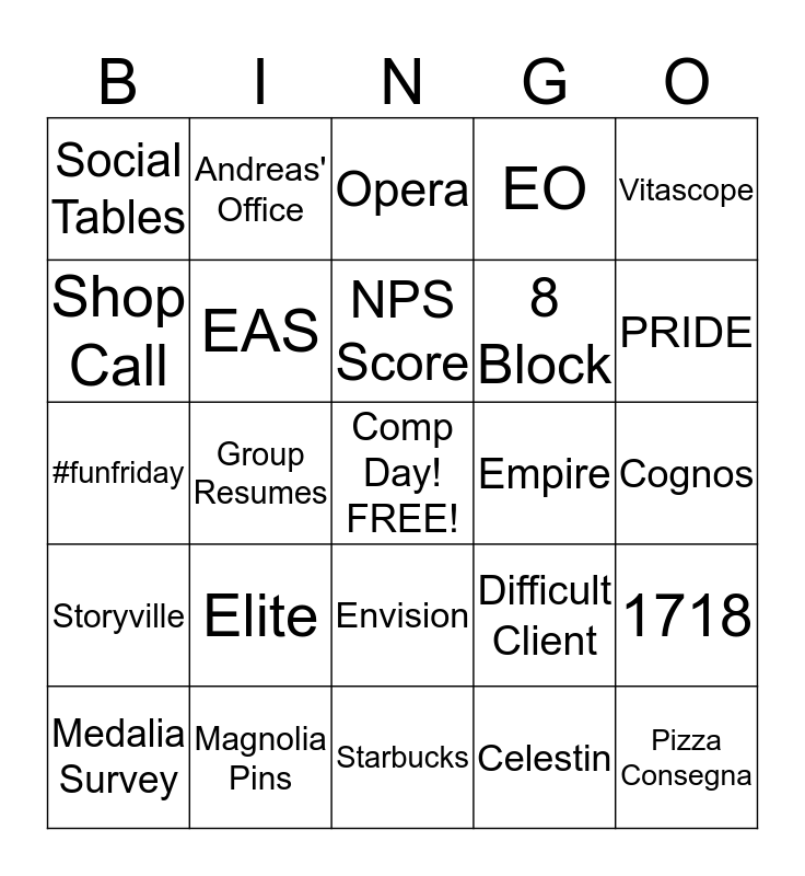 Fun Friday Bingo Card