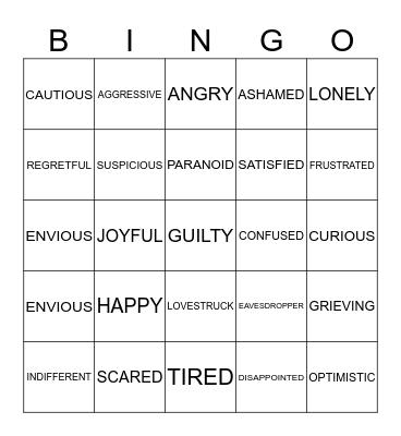 FEELINGS/EMOTIONS Bingo Card