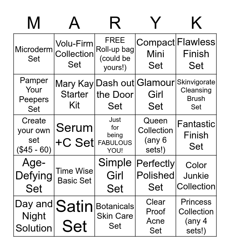 Mary Kay Shamrock Beauty Bingo Card