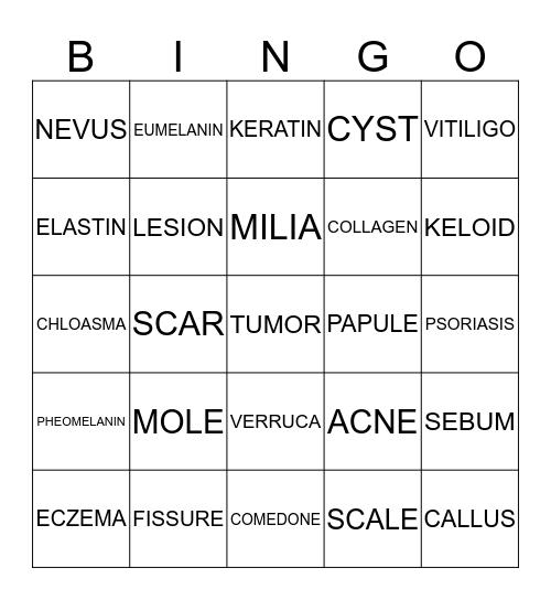 SKIN & DISEASES Bingo Card