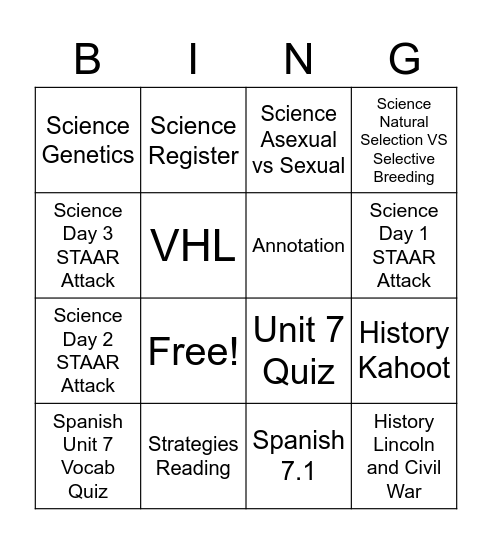 Homework Bingo Card