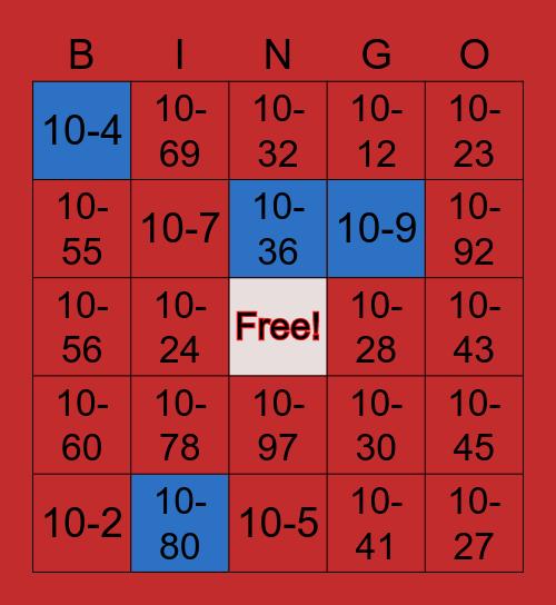 10-Code Bingo Card