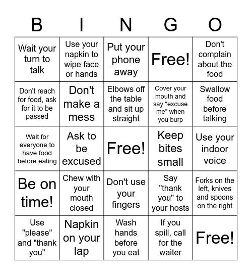 Table Manners Bingo Card