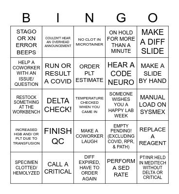 LABINGO: FLOAT Bingo Card