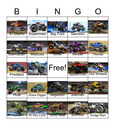 Monster Truck Bingo Card