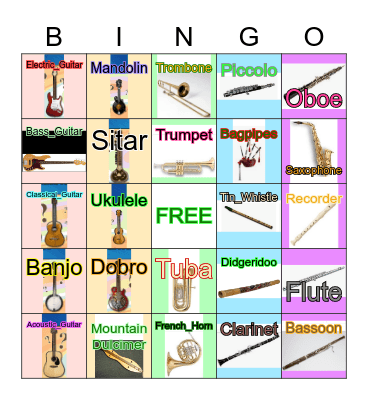 Brass, Guitars, Fretted Instruments, and Woodwinds Bingo Card