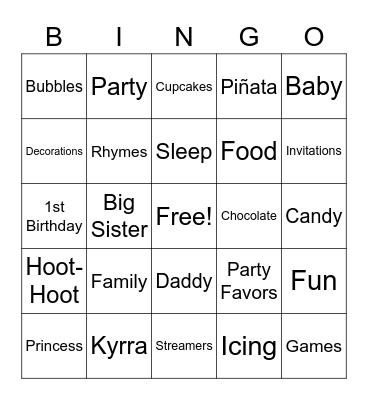 Kyrra Birthday Bingo Card