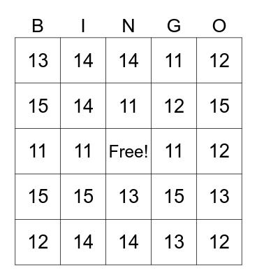 Numbers 11 - 15 Bingo Card