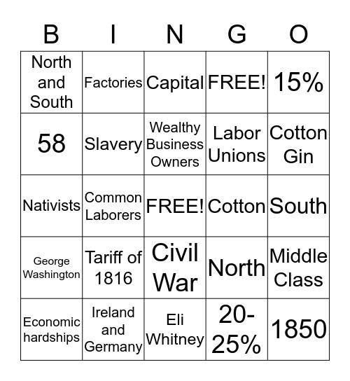 Section 7.2 Bingo Card