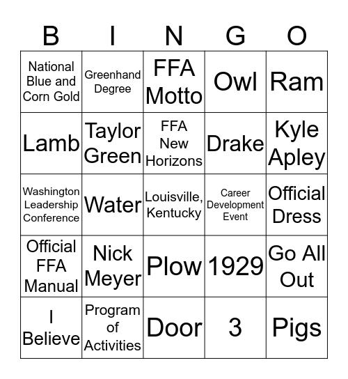 FFA Week Bingo Card