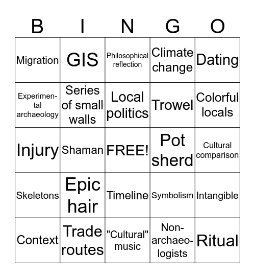 Archaeology Bingo Card