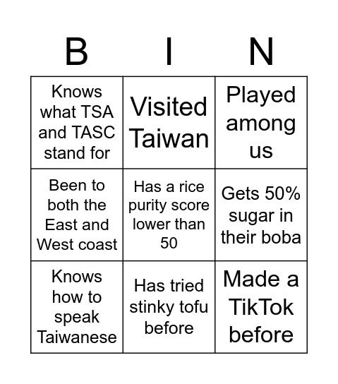 CMU TSA x Bing TASC Bingo Card