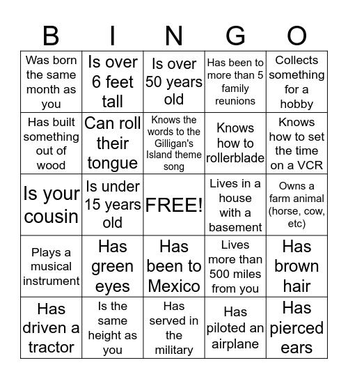 Family Reunion Find someone Who.... Bingo Card