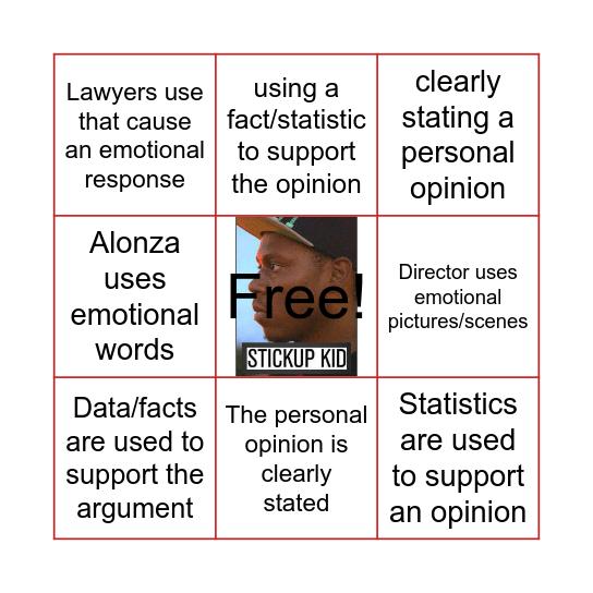 Persuasive Writing Bingo Card