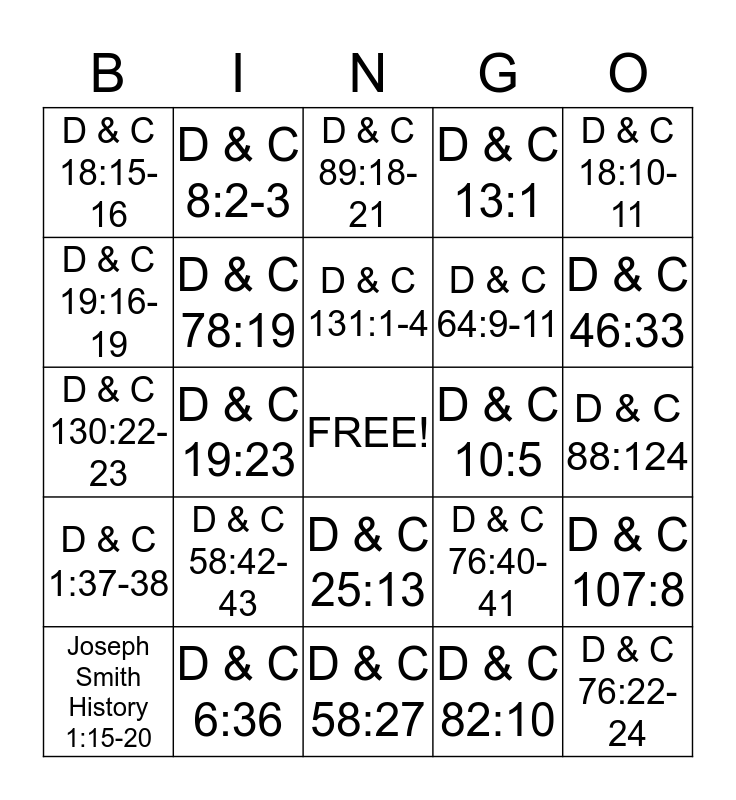 Doctrine and Covenants Bingo Card