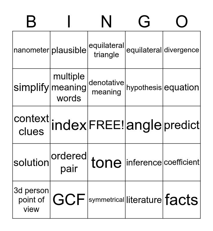 ISAT Bingo Card