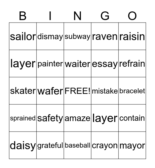 Phonic Bingo Card