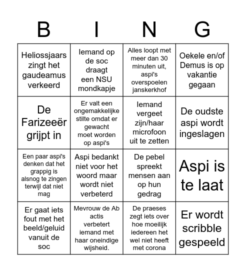 ALV Bingo Card