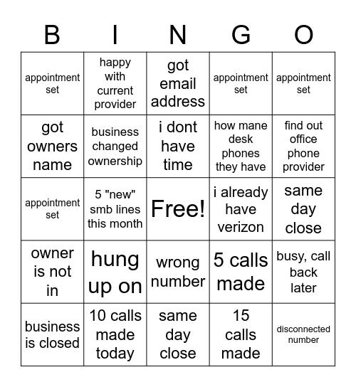 smb call day Bingo Card