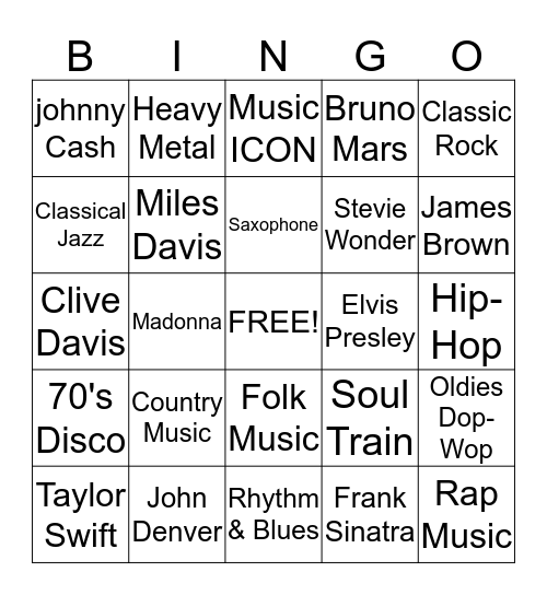 Music History Bingo Card
