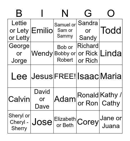 Name Game Bingo Card