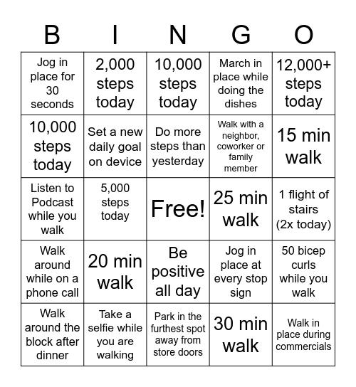 STEP CHALLENGE Bingo Card