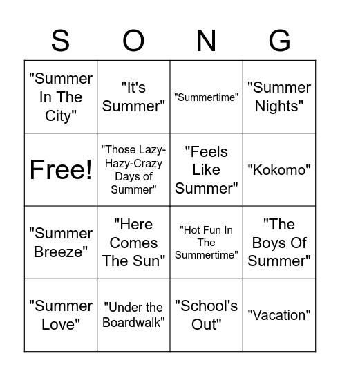 WN Summer Music Bingo Card