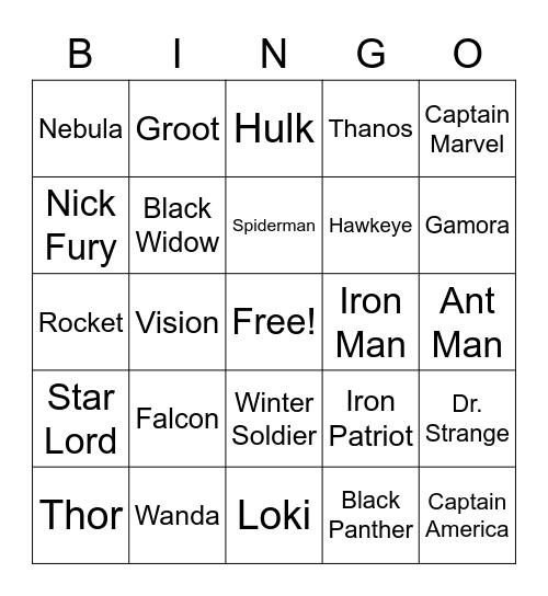 Marvel Bingo Card
