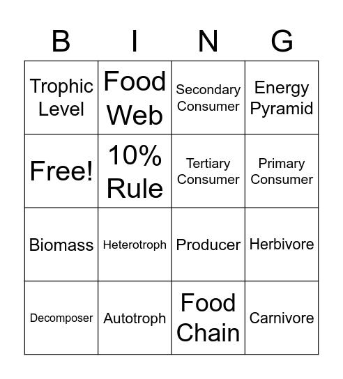 Energy Flow Bingo Card