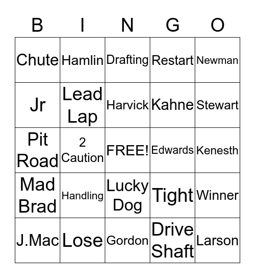 Daytona 2015 Bingo Card