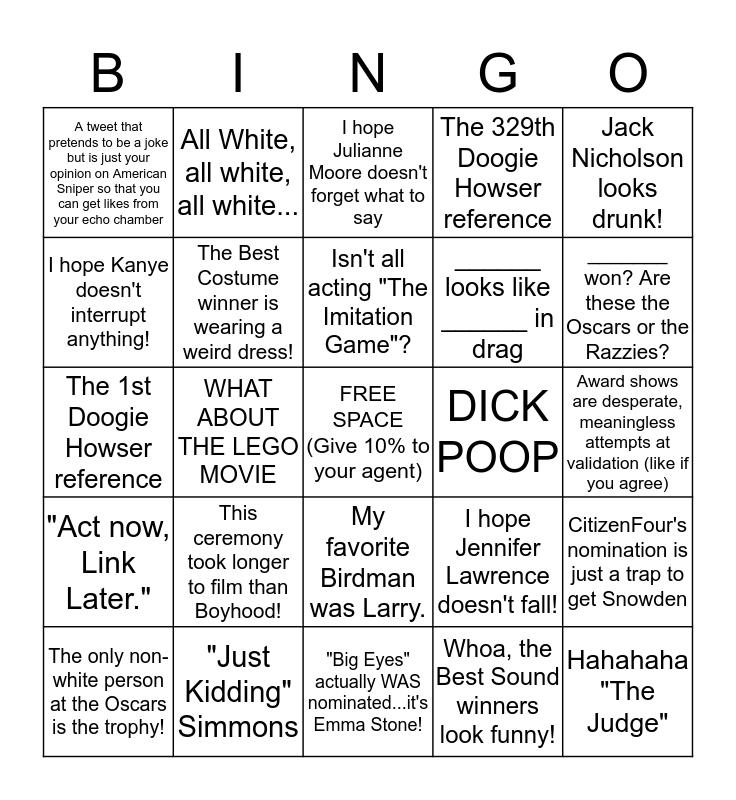 Oscar Tweet Bingo Card