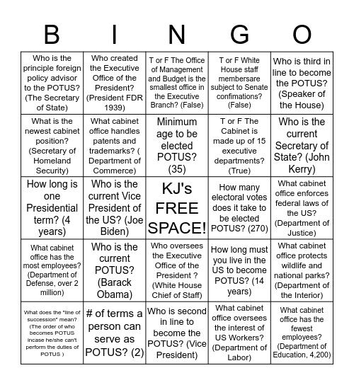 KJ's Executive Branch & President of the US (POTUS) Bingo Card Bingo Card