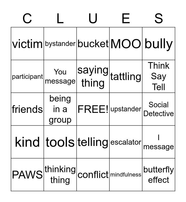 Social Detectives Bingo Card