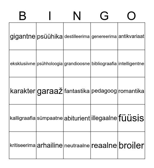 Võõrsõnade tähenduse tundmine Bingo Card