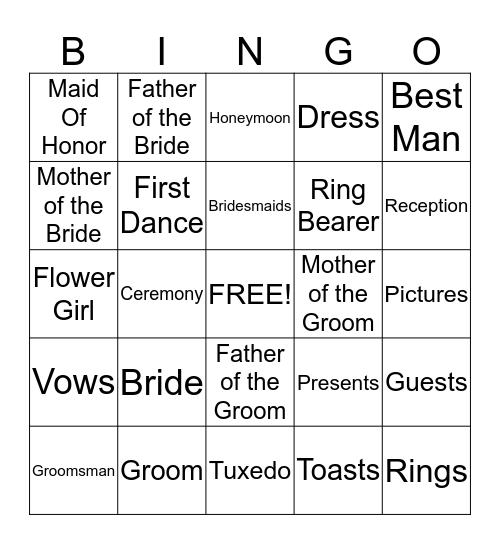Sarah's Shower Bingo Card