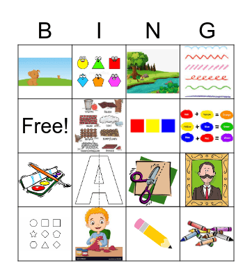 Art Terms K-2 Bingo Card