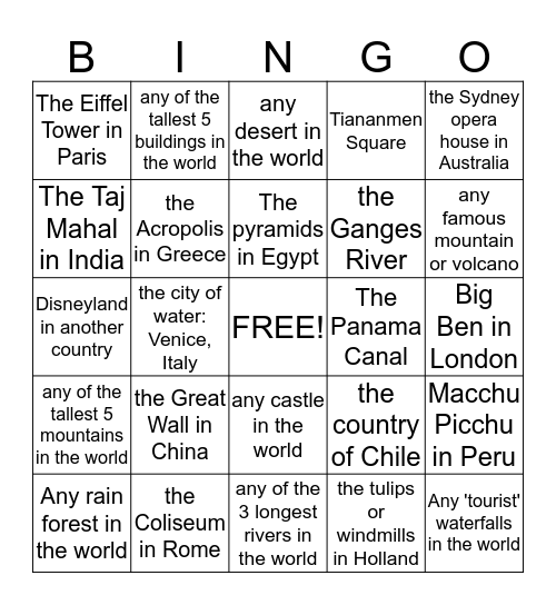 Find someone who has been to:  Bingo Card