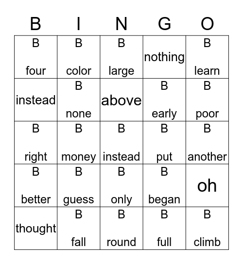 High Frequency Words Unit 5 Bingo Card