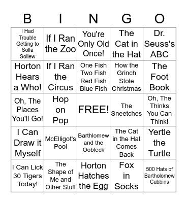 Dr. Seuss Bingo Card