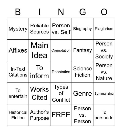 7th Vocab Review Bingo Card