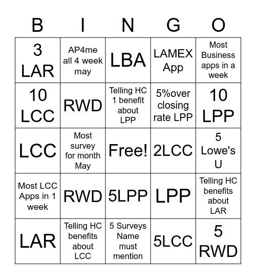 Lowe's  Bingo Card