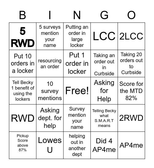 Curbside  Bingo Card