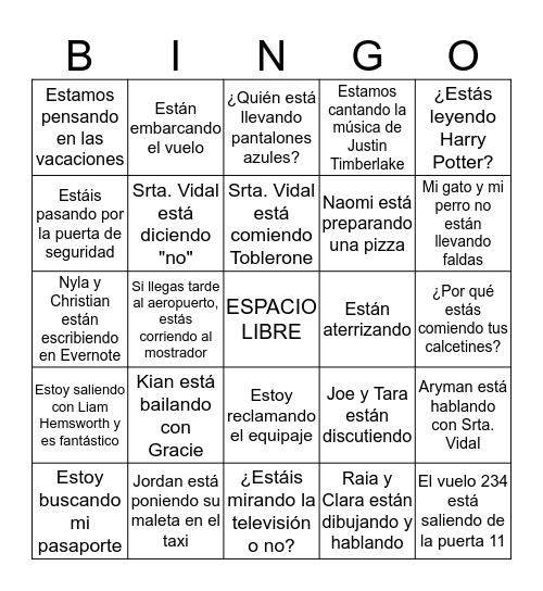 EL PRESENTE PROGRESIVO y VOCABULARIO 3.1 Bingo Card